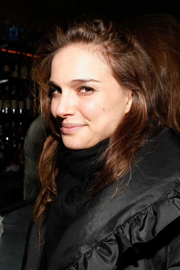 Natalie Portman In Black Jacket Shiny Nylon