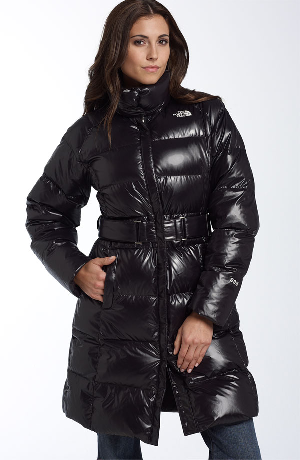 Black The North Face Caroline Down Coat Shiny Nylon