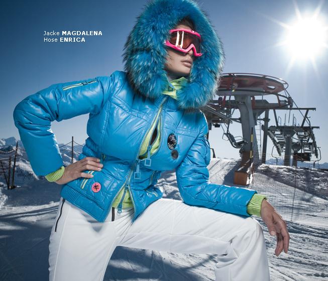 blue fur hooded sportalm magdalena down jacket shiny nylon. Black Bedroom Furniture Sets. Home Design Ideas
