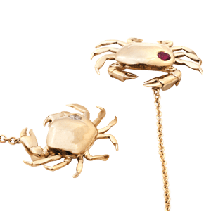 Ghost Crab Earrings Gold Shiny Rock Polished