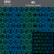 "A repeating pattern of 29 inclusive circled icons along with the words ""Be..."" and ""Be You"" in black with a background of blue and green vertical gradated stripes. At the top on a gray bar is written ""DBG Baby. BE Colorway: United"""