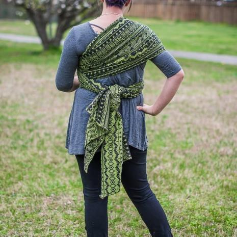 shiny_star_designs_space_invaders_cetus_woven_wrap_babywearing_budget_low_cost_green_geometric_jacquard_geeky_gamer_nerdy_5