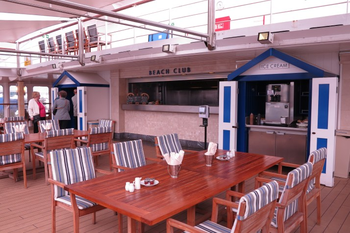 The beach club on Saga Sapphire - fish and chips and mushy peas a speciality