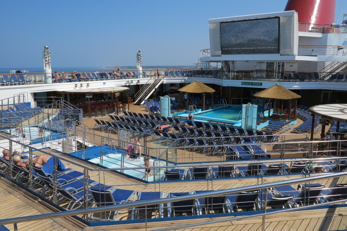The deserted deck of Carnival Sunshine in Livorno, Italy, while many guests were visiting Florence and Pisa
