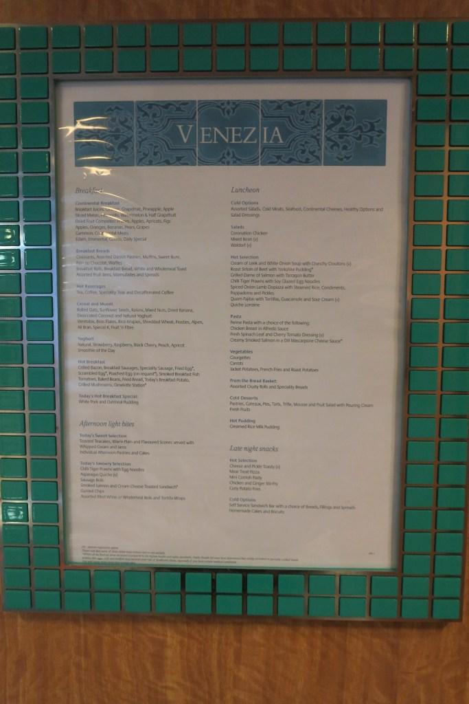 Buffet: A menu at Venezia