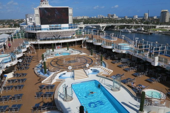 Sunny side up: The top deck of Regal Princess glows in the Fort Lauderdale sunshine