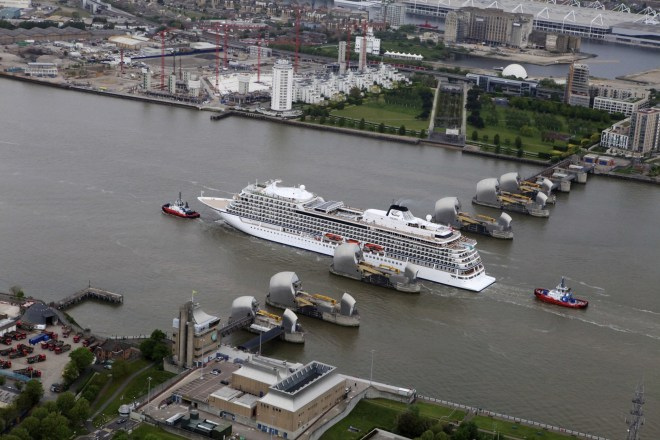 On the way: The Thames Barrier seen from above (Picture: Viking Cruises)