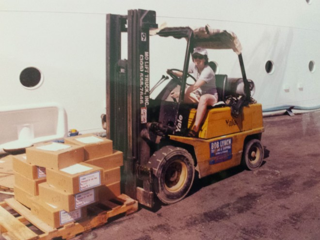 Working: Loading supplies on ship in St Thomas