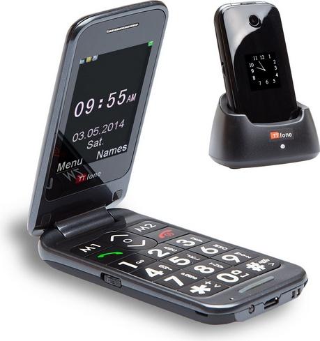 TTfone Venus 2 (TT31) Big Button Flip Mobile Phone – Dual Screen,  Bluetooth, Folding, Camera, Unlocked, SOS Button – Black – with free Dock –