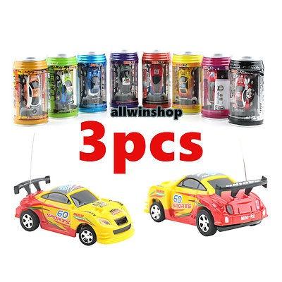 3PCS Multicolor Coke Can Mini Speed RC Radio Remote Control Micro Racing Car Toy
