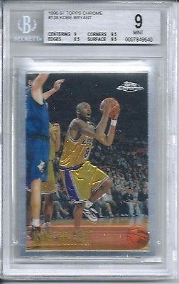 1996 Topps Chrome Basketball 138 Kobe Bryant Rookie Card Bgs 9 For Sale