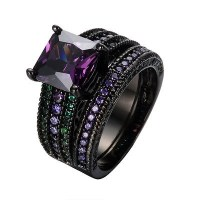 8mm Purple Amethyst Wedding Ring Set CZ Band Sz6