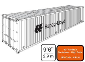 40' Open Top (Hard Top) High Cube Container