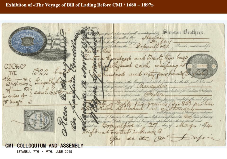 Bill of Lading 1874