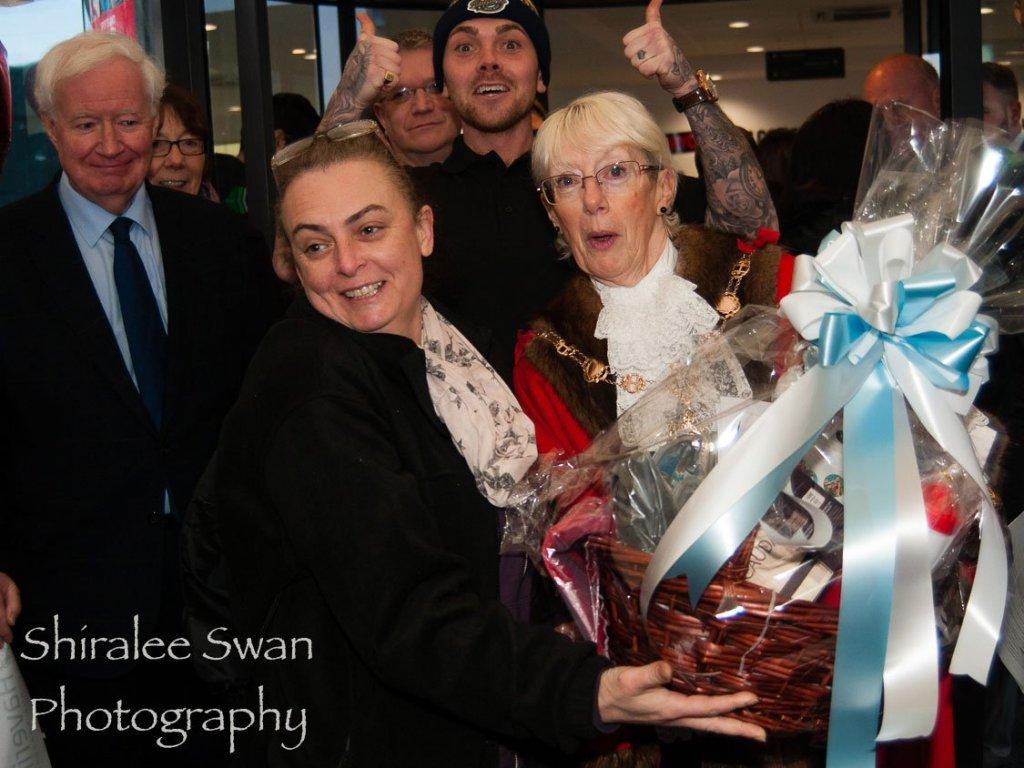 Mayor of Havering Linda Van den Hende with the raffle winner
