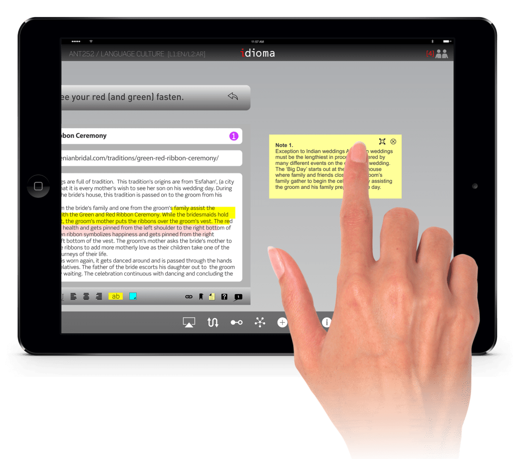 The user can annotate, write notes or mark up the documents that he/she find related to idioms.