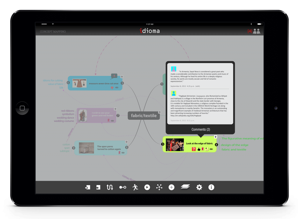 The final output will be an interactive concept map that could be animated. The instructor will be able to evaluate students' process since the app keep records of the process and all of the collaborations.