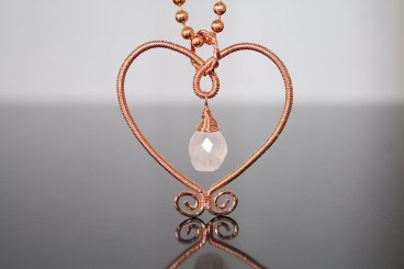 Rose Quartz in Copper heart