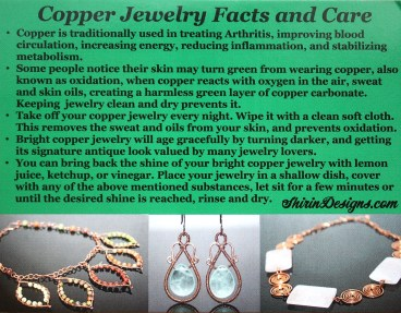 My Copper Jewelry Facts and Care Information Card