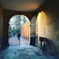 Clare College gate and bike at sundown