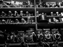 Vintage film cameras on display.