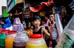 The heat is on. An array of refreshments. Manila January 2016