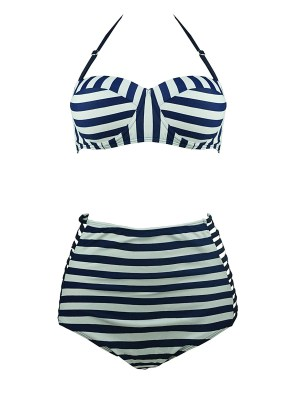 Hollow Vintage High Waisted Bikini Engraving Swimsuits Swimwear Stripe