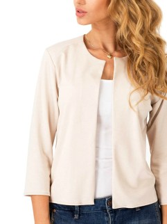 Womens 3/4 Sleeve Open Front Casual Short Blazer Jacket Suits