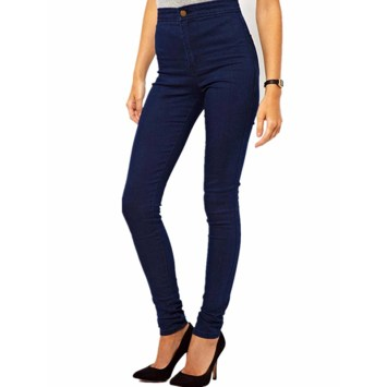 Ladies Pencil Stretch Denim Skinny Cotton Pants High Waist Jeans Slim Trousers-Navy