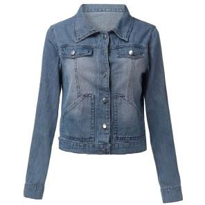 Women's Long Sleeve Denim Coat Jacket Blazer Casual Outwear Cardigan Tops