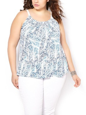 Womens Plus Size Sleeveless Printed Halter Top