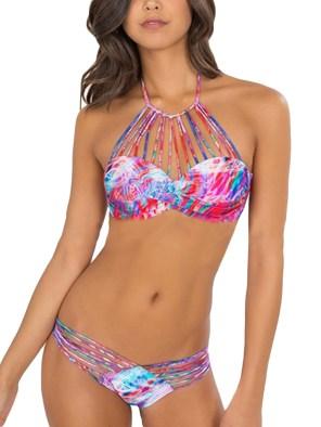 Women's Sexy Halter Bandage Swimsuit Retro Floral Print Push Up Brazilian Bikini Set