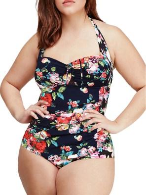 Women's Sexy High Waist Swimwear Halter Vintage Monokini3XL-5XL