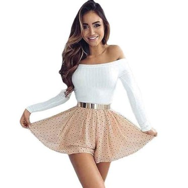 Women Sweaters Knitting Casual Strapless Off Shoulder-White