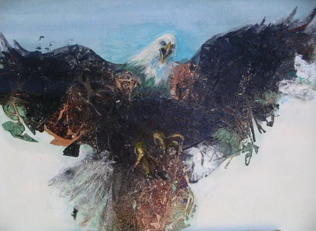 Cleared to Land, 22 x 30 in, mixed media