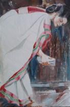 The White Sari, 12 x 9 in
