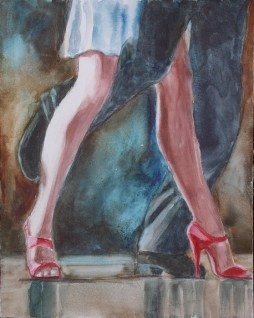 Killer Stilettos, 20 x 16 in, watercolour on canvas