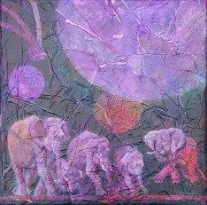 The Moon By Elephant Light III, 12 x 12 in, mixed media collage