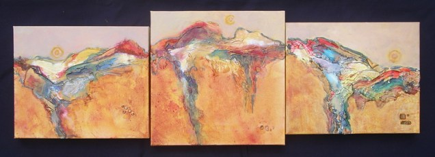 Tuscan Sun Triptych, mixed media on gallery canvas