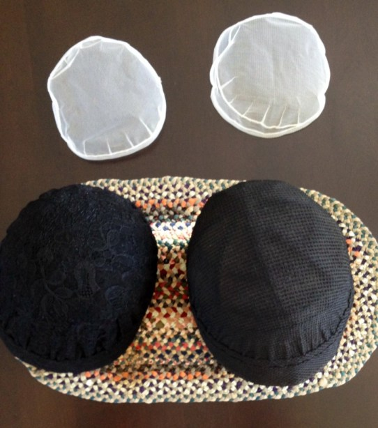 my last two coverings and my Grandmother Hess's last two bonnets