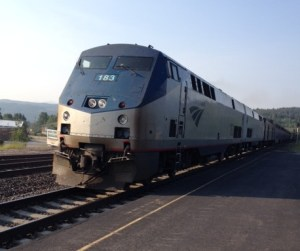 Amtrak arriving at the station