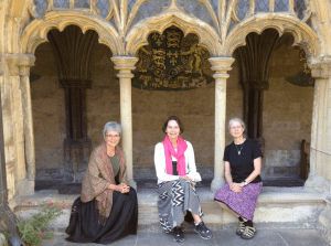 Pilgrim Sisters Shirley, Anne, and Janet at Norwich Cathedral, July, 2012