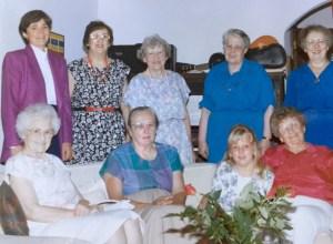 The Wisdom Women. Seated: Ethel Yoder, Helen Alderfer, Kate, Lois Schertz. Standing: Shirley, Pauline Fisher, Evelyn Kreider, Mary Oyer, Mary Eleanor Bender