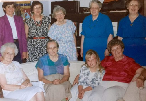 The Wisdom Women. Seated: Ethel Yoder, Helen Alderfer, Kate, Lois Schertz. Standing: Shirley, Pauline Fisher, Evelyn Kreider, Mary Oyer, Mary Eleanor Bender