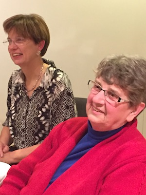 Hilda and Sister Ann Marie share in the laughter.