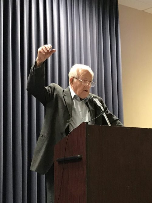 John Ruth speaking at the Lancaster Mennonite Historical Society Conference. May 20, 2017.