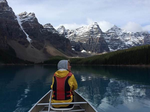 Paddling through Moraine Lake.