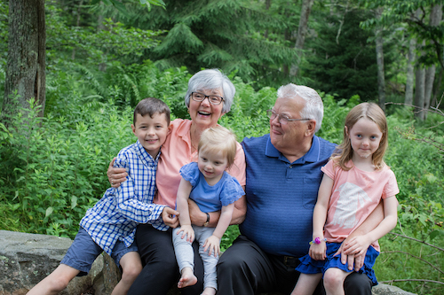 Owen, Lydia, and Julia with their grandparents. June 22, 2019