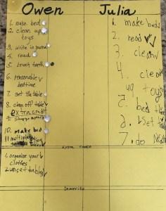 The chore chart.