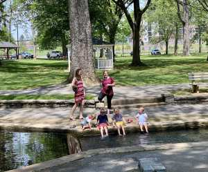 The Lititz Springs Park is fed by a large spring to the left of this photo. The spring water flows about a quarter mile to a fountain that borders Broad St.